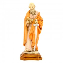 St. Paul statue in colored resin 17 cm