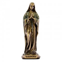 Our Lady of Lourdes bronze resin statue 9 cm