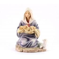 Statua Madonna con Bambino resina colorata 16 cm