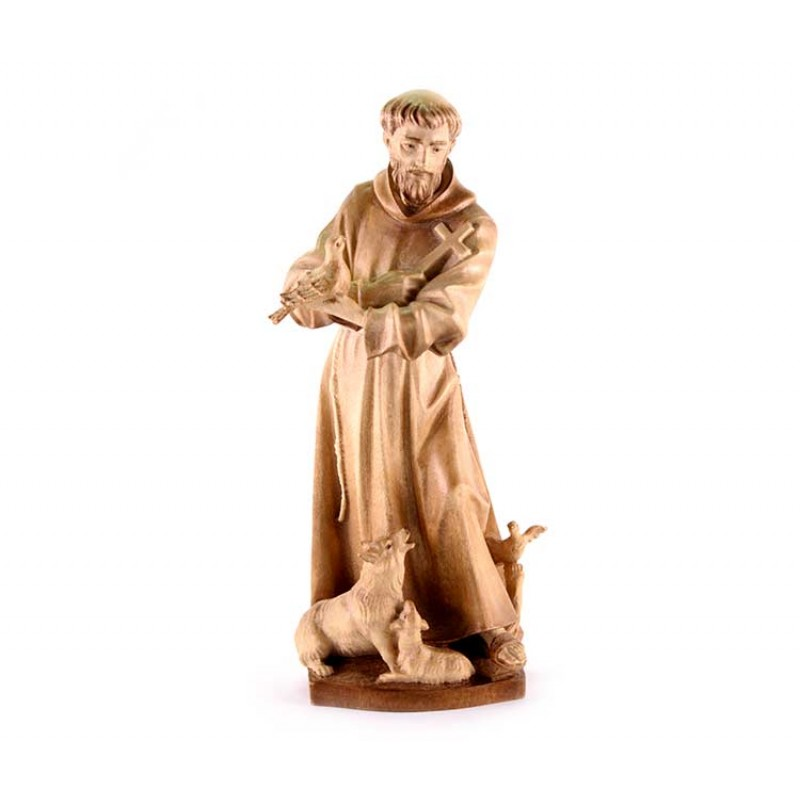 St Francis Of Assisi Wooden Statue 20 Cm