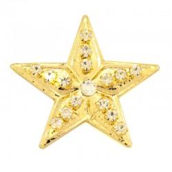 Stella a 5 punte in metallo dorato con strass 4 cm