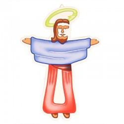 Croce Gesù in legno colorato 18x25 cm
