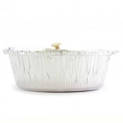 Candela cera bianca in alluminio Diametro 15 cm