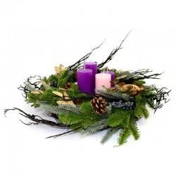 Advent wreath with golden leaves Diameter 45 cm