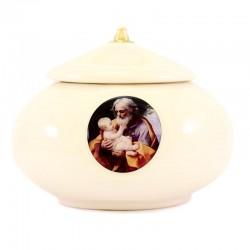 Lucerna ceramica bianca San Giuseppe Diametro 15 cm