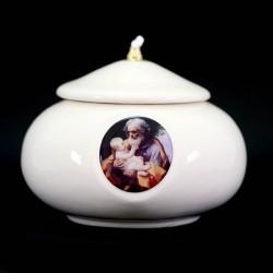 Lucerne St. Joseph in white colored ceramic Diameter 15 cm