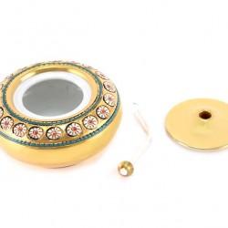 Ceramic Oil Lamp incised decorations 8 cm diameter 12 cm
