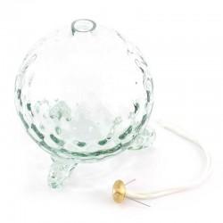 White Glass Liquid Wax Sphere Lamp 12x14 cm