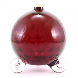 Lampada sfera vetro rosso per cera liquida 12x14 cm