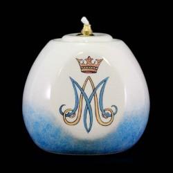 Marian lamp in colored ceramic 12x12 cm