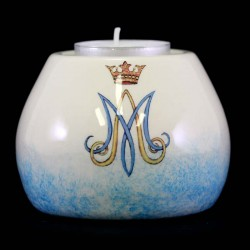 Marian lamp with light base in colored ceramic 8,5x6,5 cm