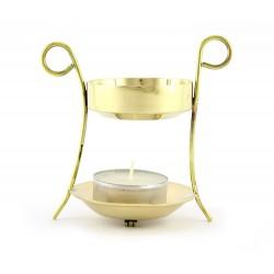 Bruciaincenso tondo in metallo dorato 9,5 cm