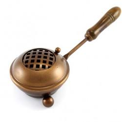 Bronzed Incense Burner with handle 6 cm diameter 8 cm
