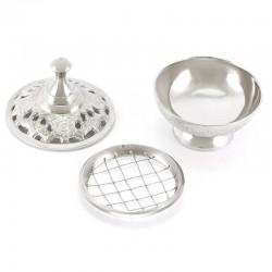 Round Nickel plated Metal Incense Burner 9 cm