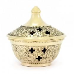 Brucia incenso metallo dorato decorato 7 cm