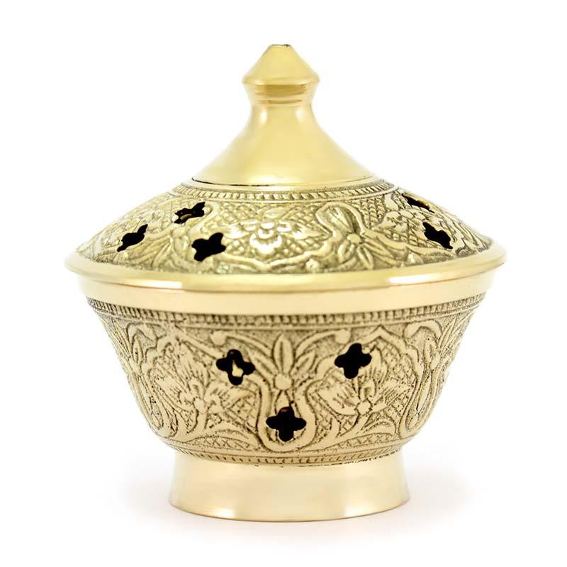 Brucia incenso metallo dorato decorato 8 cm
