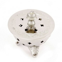 Incense burner in nickel-plated metal with perforated crosses 8 cm