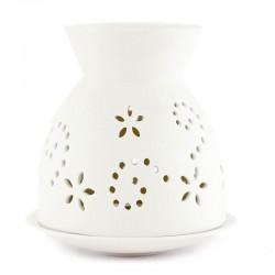 Bruciatore per oli in ceramica bianca traforato 13 cm