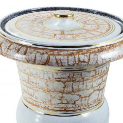 White Cinerary Urn with Marbled Gold 30x37 cm
