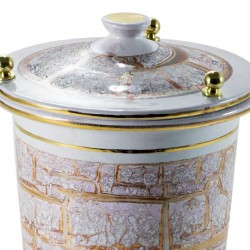 White Cinerary Urn with Marbled Gold 20x30 cm
