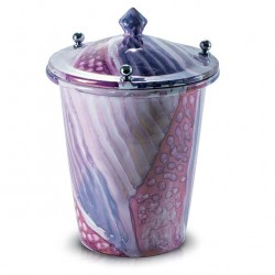 White Cinerary Urn with Violet Shades 20x30 cm