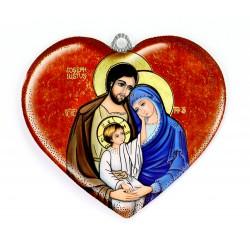 Cuore Sacra Famiglia e preghiera pvc 11,5x10,5 cm