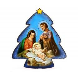Quadretto Albero di Natale con Natività 11x13 cm