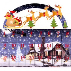 Wooden Advent Calendar with Drawers 30x28 cm