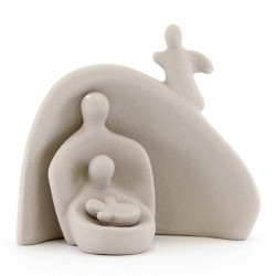 Natività stilizzata in ceramica grigio 13 cm