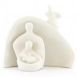 Natività stilizzata in ceramica bianco 13 cm