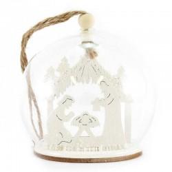 Sfera vetro con presepe in legno 8 cm