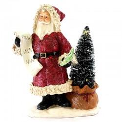 Babbo Natale in resina colorata con luci 32 cm