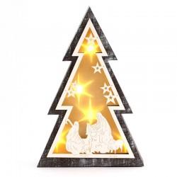 Albero di Natale con Natività e luce 30 cm