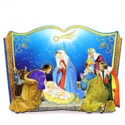 Quadretto libro Natività in MDF 15x10,5 cm