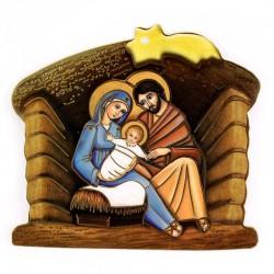 Capanna Natività e preghiera immagine pvc 11x10 cm