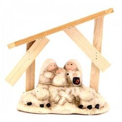 Capanna in legno con Natività baby 12x12 cm