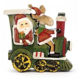 Locomotiva con Babbo Natale e renna in resina 13 cm