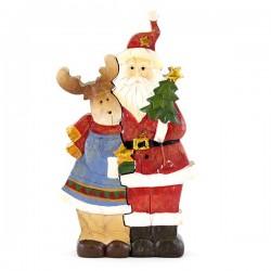 Babbo Natale con renna ad incastro 22 cm