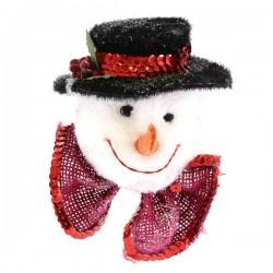 Addobbo natalizio testa pupazzo di neve 10x12 cm