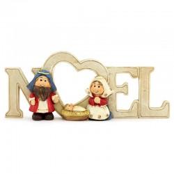 Natività con scritta Noel resina colorata 18x7 cm