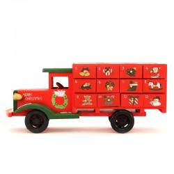 Calendario dell'Avvento camion in legno 37x16 cm
