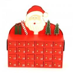 Calendario dell'Avvento mobile in legno con Babbo Natale 24x27 cm