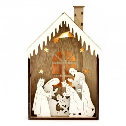 Presepe in legno con luce figure sagomate 15x24 cm