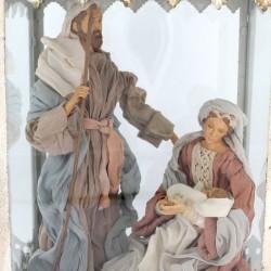 Antiqued Lantern with Resin & Clothing Nativity 30x60x25 cm