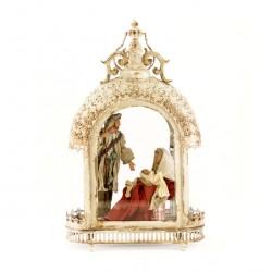 Antiqued Lantern with Resin & Fabric Nativity 32x52x15 cm