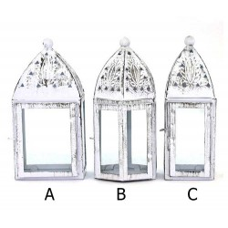 Lanterna bianca in metallo e vetro 20 cm