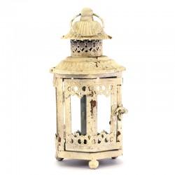 Lanterna esagonale avorio in metallo e vetro 28 cm