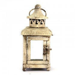 Lanterna quadrata avorio in metallo e vetro 21 cm