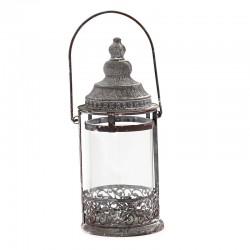 Lanterna portalumino ferro anticato e vetro 35 cm