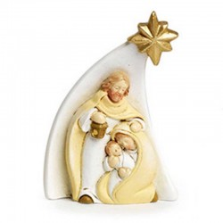 Group Nativity with star in colored resin 7.4 cm